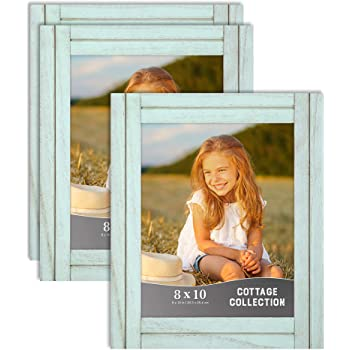 Icona Bay 8x10 (20x25 cm) Picture Frames (Eggshell Blue, 3 Pack), Rustic Picture Frame Set, Natural Real Wood Frames, Cottage Collection