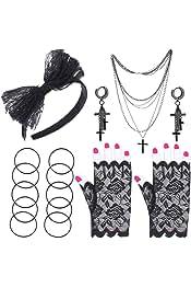 Années 80 pop star Dress Up Set Madonna en dentelle gants écharpe Croix Boucles d/'Oreilles Fancy Party