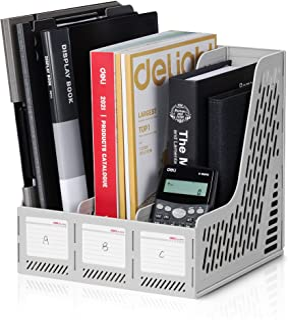 Deli Magazine File Book Holder Desktop Organizer Vertical Document Folder for Office Organization, 3 Compartments, Gray