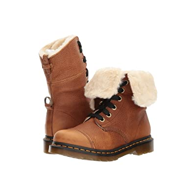 Dr. Martens Aimilita FL 9-Eye Toe Cap Boot (Tan Grizzly) Women