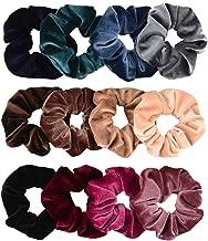 Whaline Premium Hair Scrunchies Velvet Elastics Scrunchy Bobbles Soft Hair Bands Hair Ties (12 Colors)
