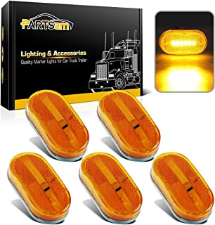 Partsam 5x Amber Clearance/Marker Side Light w/Removable Lens RV Trailer Truck Camper Waterproof 12V 2x4 Reflectorized Trailer Led Clearance and side marker Lights with Reflex Lens Surface Mount