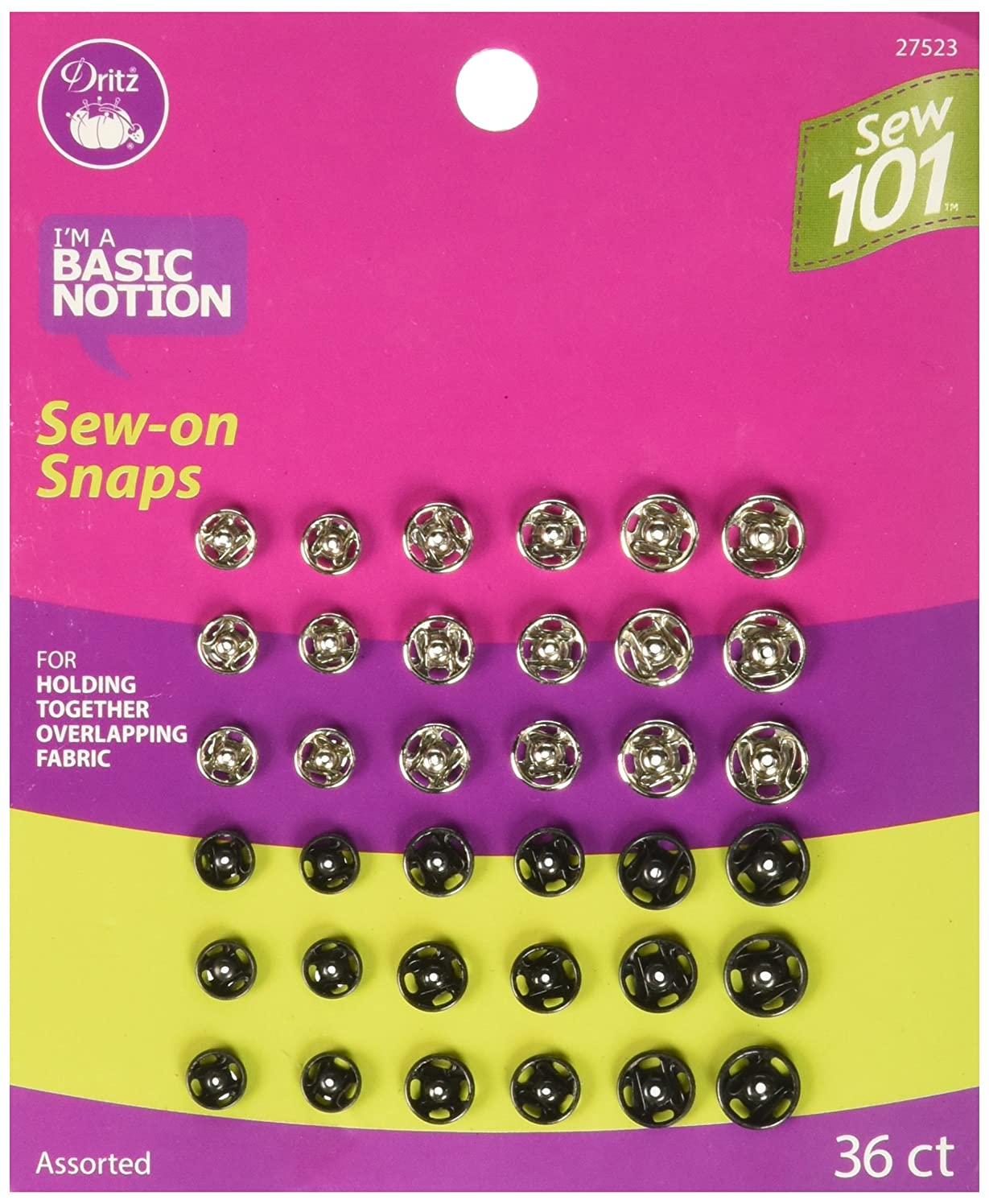 Dritz Sew 101 27523 Sew-On Snaps, Assorted Colors & Sizes (36-Sets)