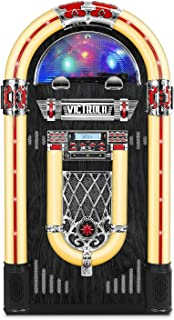 Victrola Full Size Retro Jukebox with 3-Speed Turntable, CD Player, AM/FM Radio, Bluetooth, and Color Changing LED Lights, 51-Inches Tall