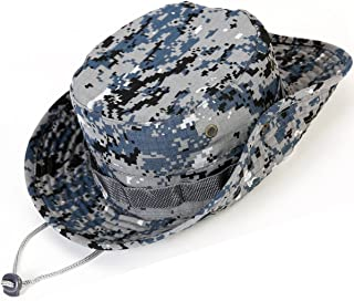 Unisex Military Boonie Hat- Premium Soft Cotton & Polyester Fabric, Sturdy Stitching Wide Brimmed Mens & Womens Boonie Hat- Top Camo Bucket Hat in Attractive Colors for Sports Fishing Beach …