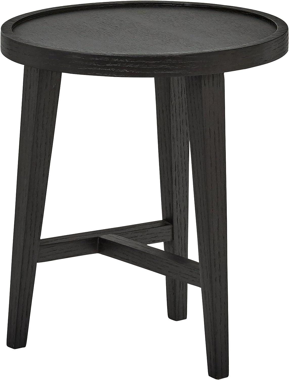 Rivet Modern Round Wood Nesting Table, 15.7  W, Dark Oak