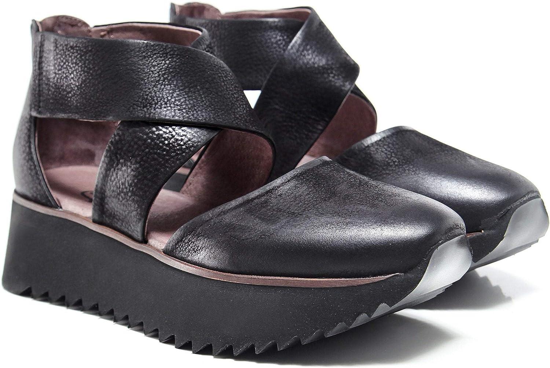 Lofina Women's Leather Cross Wedge shoes Black