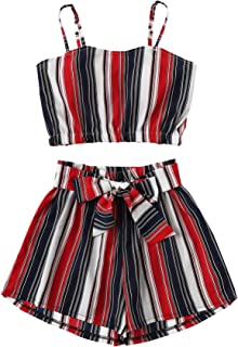 Women's 2 Piece Outfits Boho Striped Sleeveless Crop Cami Top with Shorts