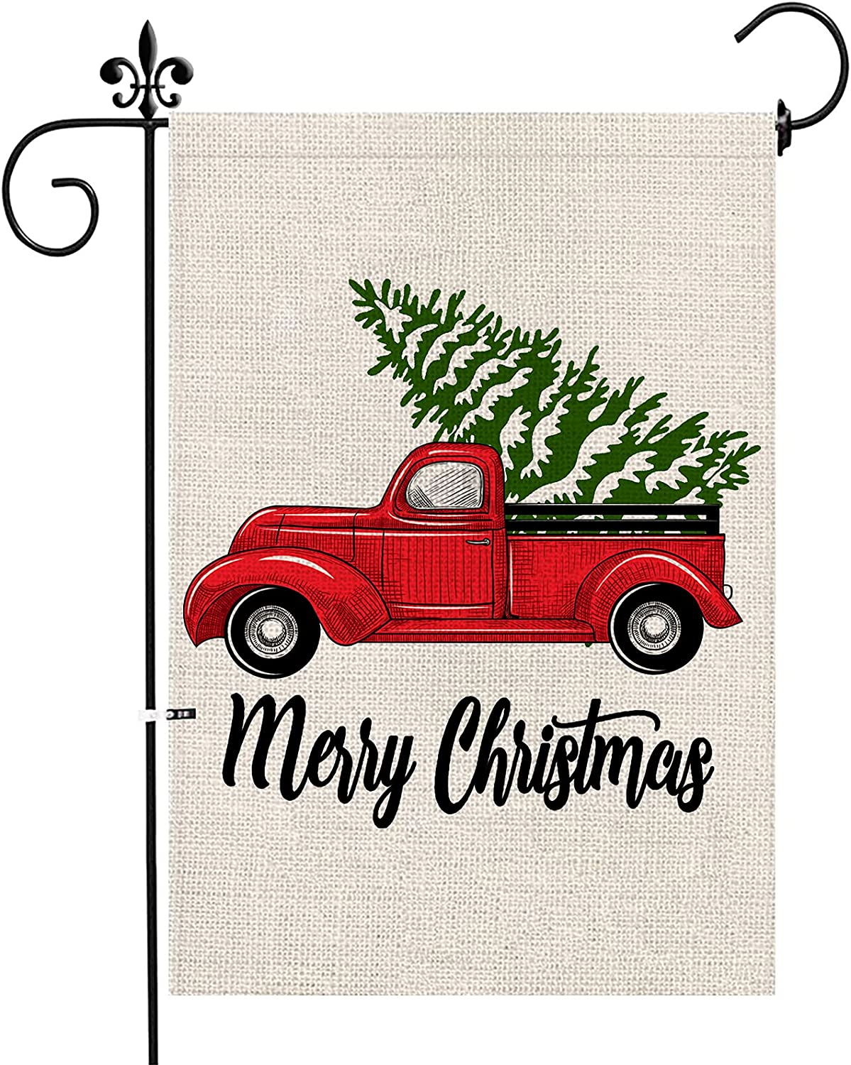 Jackmold Merry Christmas Garden Flag Vintage Tree, Home Xmas Quote House Yard Flag with Red Truck, Rustic Winter Garden Yard Decorations, New Year Seasonal Outdoor Flag 12 x 18 Holiday