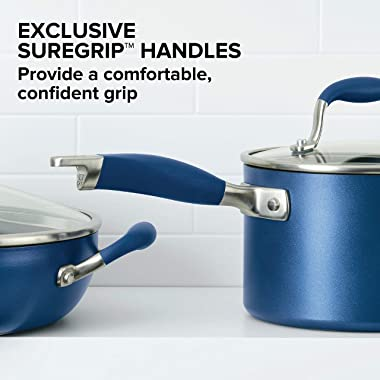 Anolon Advanced Hard Anodized Nonstick Stir Fry Wok Pan with Lid, 14 Inch, Indigo Blue