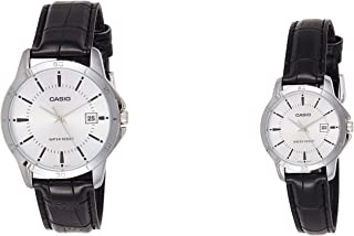 Casio His & Hers Silver Dial Leather Band Couple Watch - MTP/LTP-V004L-7A