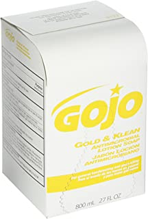 GOJO 800 Series Gold & Klean Antimicrobial Lotion Soap, 800 mL Lotion Soap Refill for GOJO Bag-in-Box Dispenser (Case of 12) - 9127-12