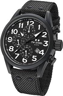 TW Steel Men's Volante Stainless Steel Japanese-Quartz Watch with Nylon Strap, Black, 24 (Model: VS44)