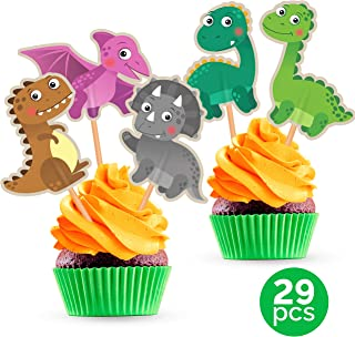 Dinosaur Cupcake Toppers - Dino Birthday Party Baby Shower Decorations - 25 PCS