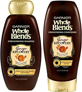 Garnier Whole Blends Haircare - Ginger Recovery - Strengthening Shampoo & Conditioner Set - Net Wt. 12.5 FL OZ (370 mL) Pe...