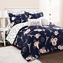 Lush Decor Navy Vintage Paris Rose Butterfly 7 Piece Reversible Full Queen Comforter Bedding Set