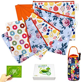 Reusable Snack Bags and Sandwich Bags For Kids - Eco Friendly Zipper Bag Washable Dishwasher Waterproof - Safe Food Set BPA Cloth Baggies Non Toxic Lunch Adults - 5 Pack Bundle Bottle Water Holder
