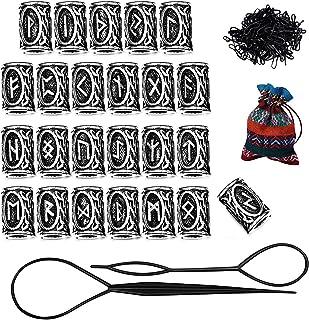 comprar comparacion Finrezio 24 Piezas De Cuentas Rúnicas Y Bandas De Goma Negras Establecen Accesorios para Mujeres Hombres