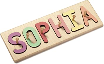 Save Kids Personalized Wooden Peg Name Puzzle –10-12 Characters (Including Spaces)