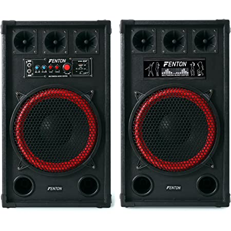 "Fenton SPB-12 Altavoces activo y pasivo 30cm (12"") (800W potencia, entrada USB SD reproductor MP3, Bluetooth, sistema sonido profesional, altavoz bassreflex con subwoofer, apto exterior, entrada micrófono)"