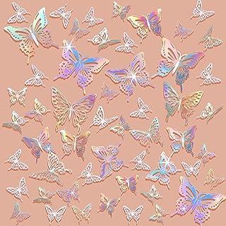 172 Pieces 3D Removable Butterfly Wall Decoration Sticker DIY Hollow Metallic Butterfly Decor Paper Butterflies Decor for ...