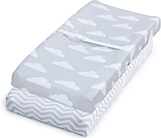 Changing Pad Cover, 2 Pack Unisex Clouds & Chevron, Fitted Soft Cotton Sheet