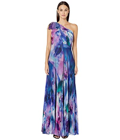 Marchesa Notte One Shoulder Printed Chiffon Pleated Gown w/ Shoulder Draped Bow (Blue) Women