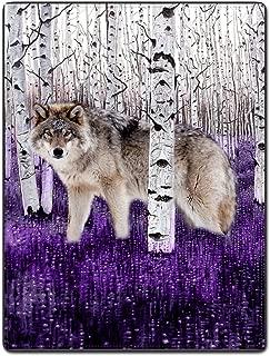 SXCHEN Flannel Fleece Blanket Throw Lightweight Cozy Plush Branches White Wolf Purple Ground 50