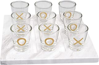 Refinery and Co. Tic-Tac-Toe 10-Piece Shot Set, Vintage Tabletop Games, 9 Shot Glasses and Marble Board, Drinking Game for Adults