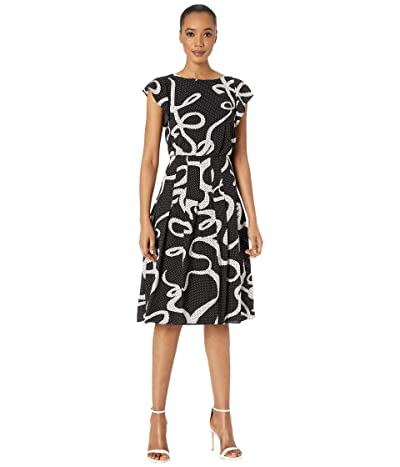 Adrianna Papell Dotted Ribbon Blouson Dress (Black Multi) Women