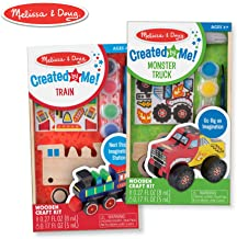 Melissa & Doug Created by Me! Paint & Decorate Your Own Wooden Vehicles Craft Kit for Kids 2 Pack – Monster Truck, Train