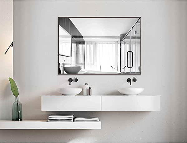 Alice Bathroom Mirrors Wall Mounted Modern Black Frame Mirror For Bathroom Bedroom Living Room Hanging Horizontal Or Vertical Commercial Grade 90 CRI 38 X 26