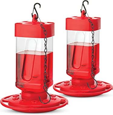 SEWANTA Hummingbird Feeders for Outdoors 32 oz [Set of 2] First Nature Hummingbird Feeder Includes, Perch with 10 Feeding Ports - Bundled with 2 Bird Feeder Hanging Chains 9.5 Inch