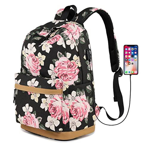 Abshoo Cute Canvas Floral Backpacks for Teen Girls School Bookbags (Floral  Black) b39ca28bef00f