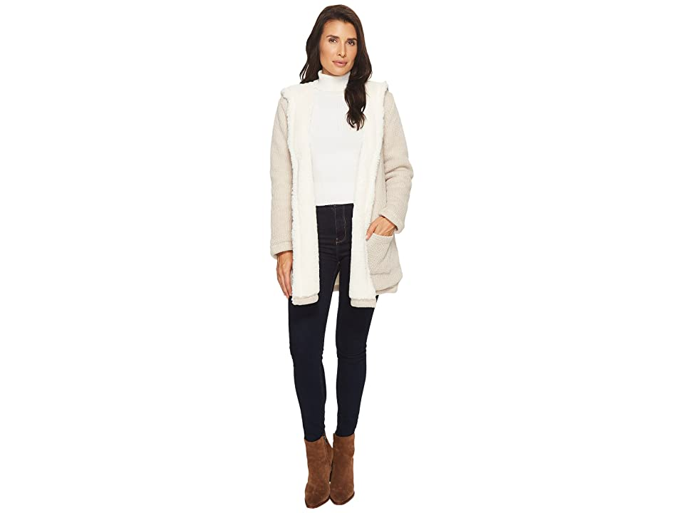 Mod-o-doc Sweater and Faux Fur Reversible Cardigan Jacket (Natural) Women