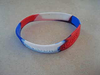Support Our Troops Red White Blue Silicone Wristband Bracelet