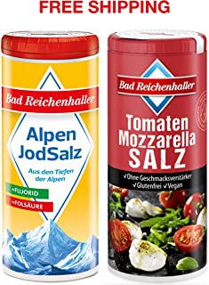 Tomato-Mozzarella Salt with Iodine and Folic Acid 90 g + Iodized Table Salt with Fluoride 125 g, Bad Reichenhaller/Germany