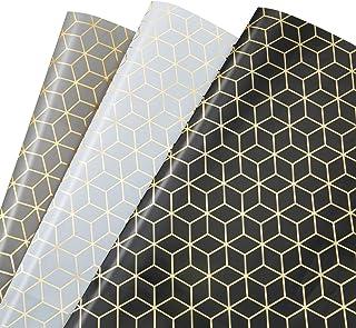 MOOKLIN ROAM Papier Cadeau, Lot de 3 papier d'emballage d'or Motif en Géométrique pour Anniversaire, Vacances, Mariage, Ca...
