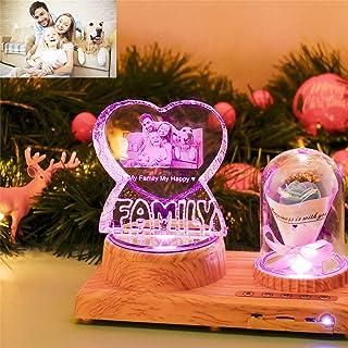 Luz de noche FAMILIA personalizada Lámpara de cristal 3D Imagen de foto Luz LED grabada de 7 colores con Bluetooth Base de madera rosa Regalo personalizado para mujeres Decoración navideña familiar