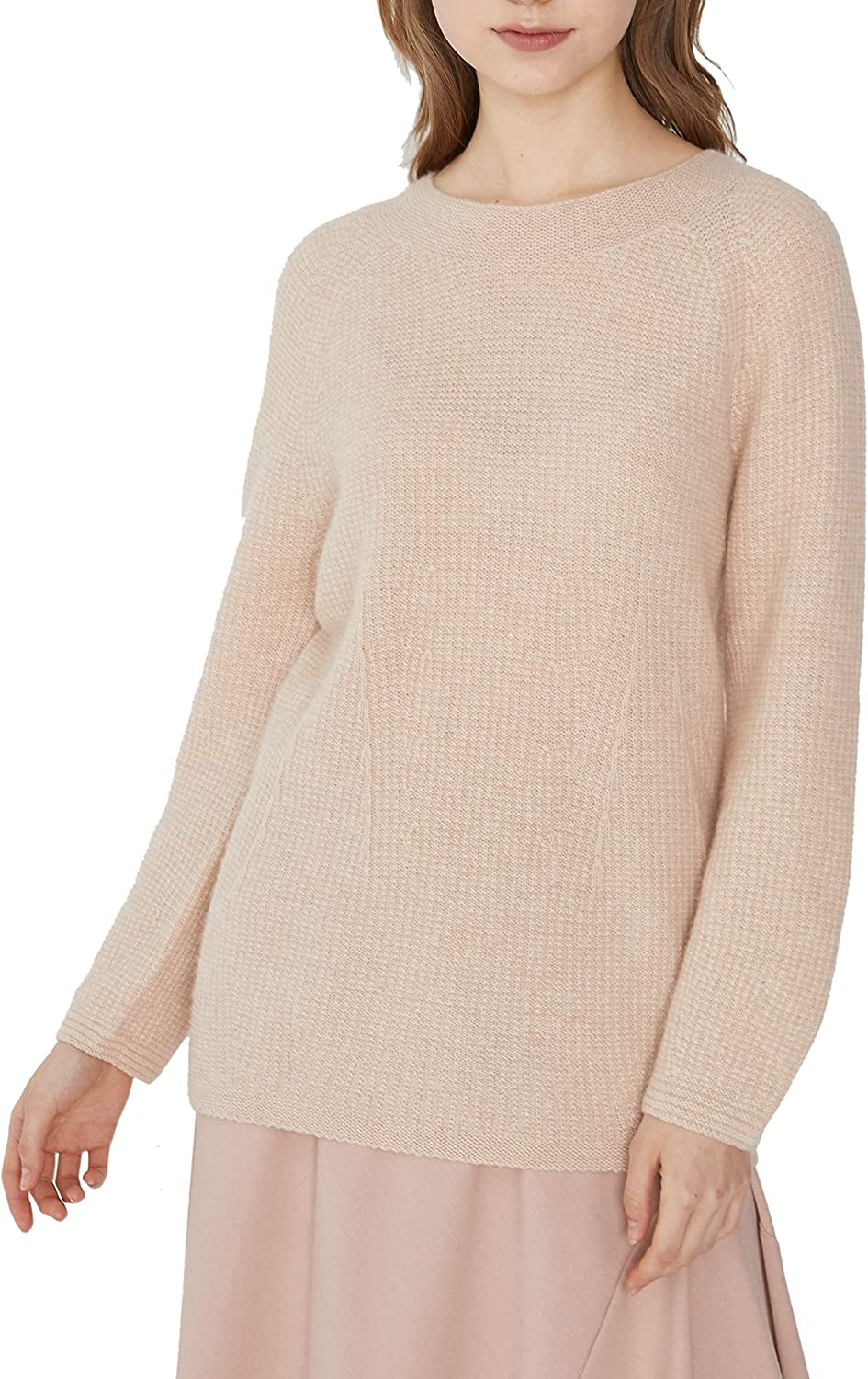 Women's Whole Garment Long Length 100% Cashmere Pullover Sweater Long Sleeve
