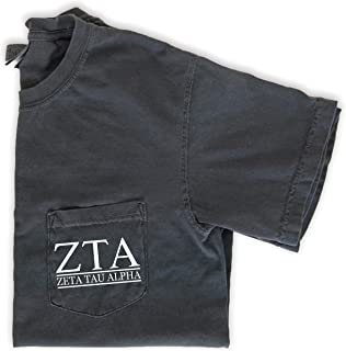 Zeta Tau Alpha Block Letters Pocket T-Shirt