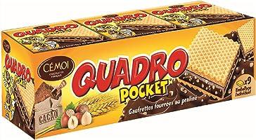Cémoi - Etui Quadro Pocket Gaufrettes Fourrées, Chocolat Praliné, 9 Gaufrettes Emballées Individuellement - Fabriqué en...