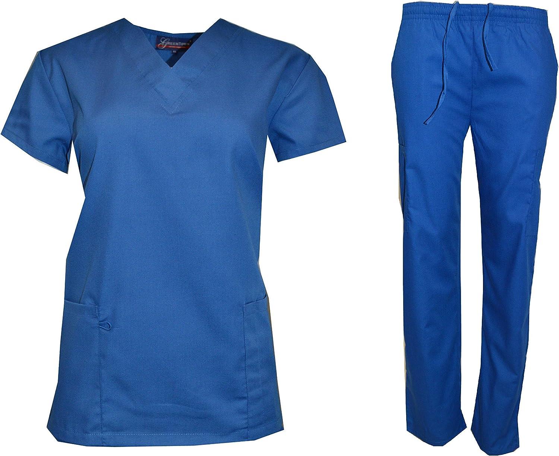 Green Town NY Scrub Lot Wholesale Medical Sets Top Pant Solid Bulk Qty 12 Medical Nursing Hospital