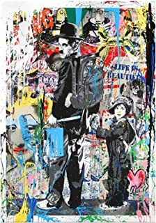Abaabul Abaabul Wall Graffiti Art Toile Esprime Chaplin avec un enfant Posters et Prints Pop Street Art Peintures pour sal...