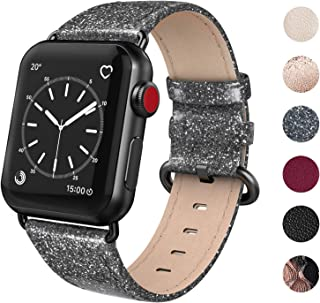 SWEES Leather Band Compatible for iWatch 38mm 40mm, Genuine Leather Shiny Wristband Compatible iWatch Apple Watch Series 5 Series 4 Series 3 Series 2 Series 1, Sports & Edition Women, Glistening Black