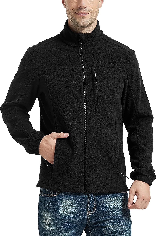 CQC Men's Full-Zip Fleece Jacket Soft Polar Winter Outdoor Coat with Pockets
