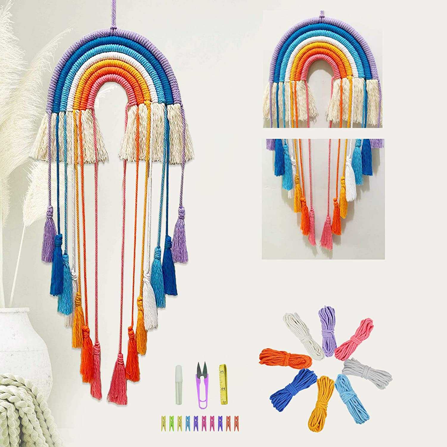 New life Now free shipping Macrame-Kit Tassel Rainbow-Wall-Hanging for Beginne Teens Adults