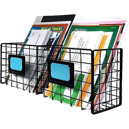 2-Slot Home Office Desk Organizer - Wall Mount Magazine Holder - Metal Mail Basket - Black