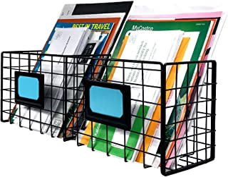 2-Slot Metal Mail Organizer for Wall - Mail Basket Wall Mount - Desktop Mail Holder - Black