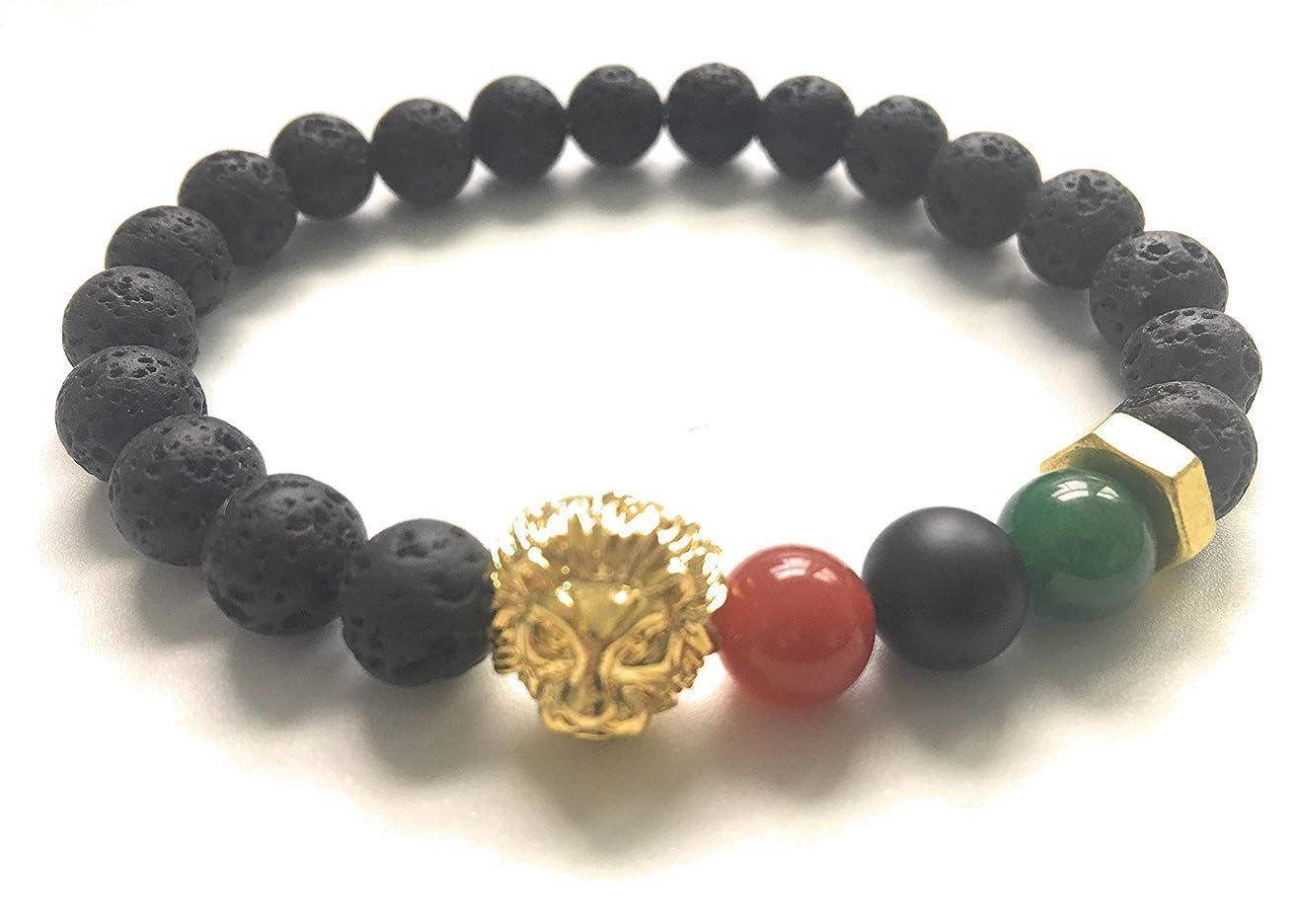 RBG Flag and Lion Bracelet, Black Panther, Wakanda, Brass Hardware, Lava stove Diffuser Bracelet, essential oil Bracelet